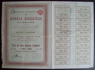 Belgium 1896 Bond - La Double Cigariere Bruxelles - With Coupons. .  A9764 photo