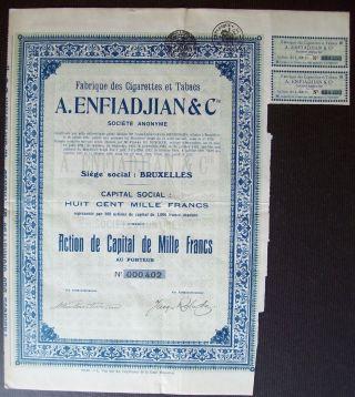 Belgium 1928 Bond - A.  Enfiadjian Cigarettes Et Tabacs - With Coupons.  A9763 photo