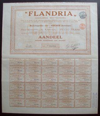 Belgium 1924 Bond - Flandria Naamlooze Maatschappij - With Coupons. .  A9762 photo