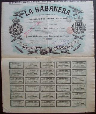 Belgium 1900 Bond - La Habanera Tabacs De Russie Anvers - With Coupons.  A9760 photo