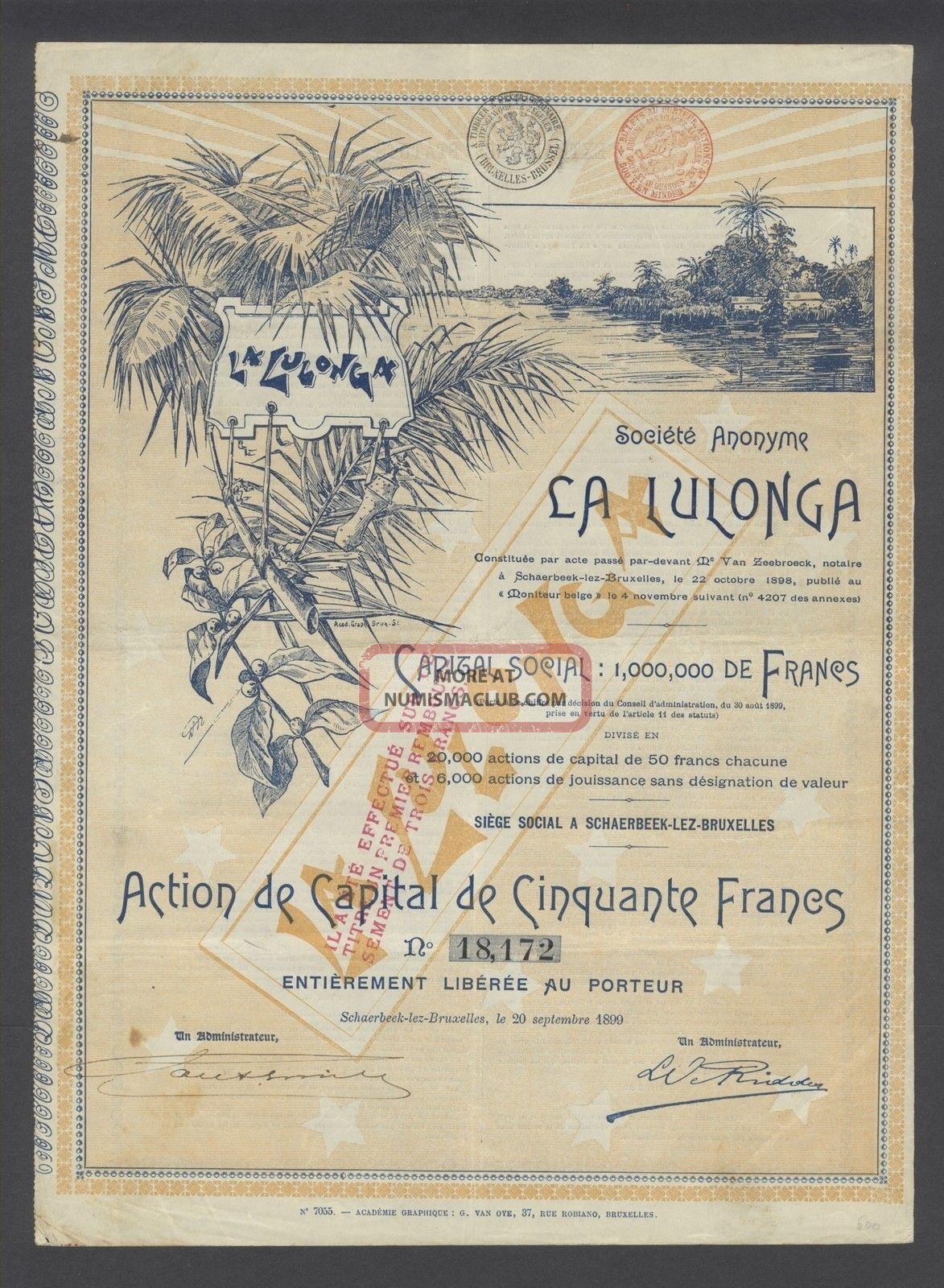 Belgium 1899 Illustrated Bond - La Lulonga Schaerbeek. . .  A9758 World photo