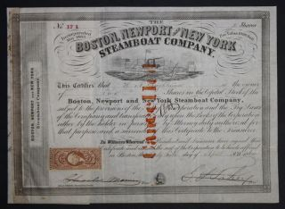 Boston,  Newport And York Steamboat Company 1864 Capital Stock Certificate photo