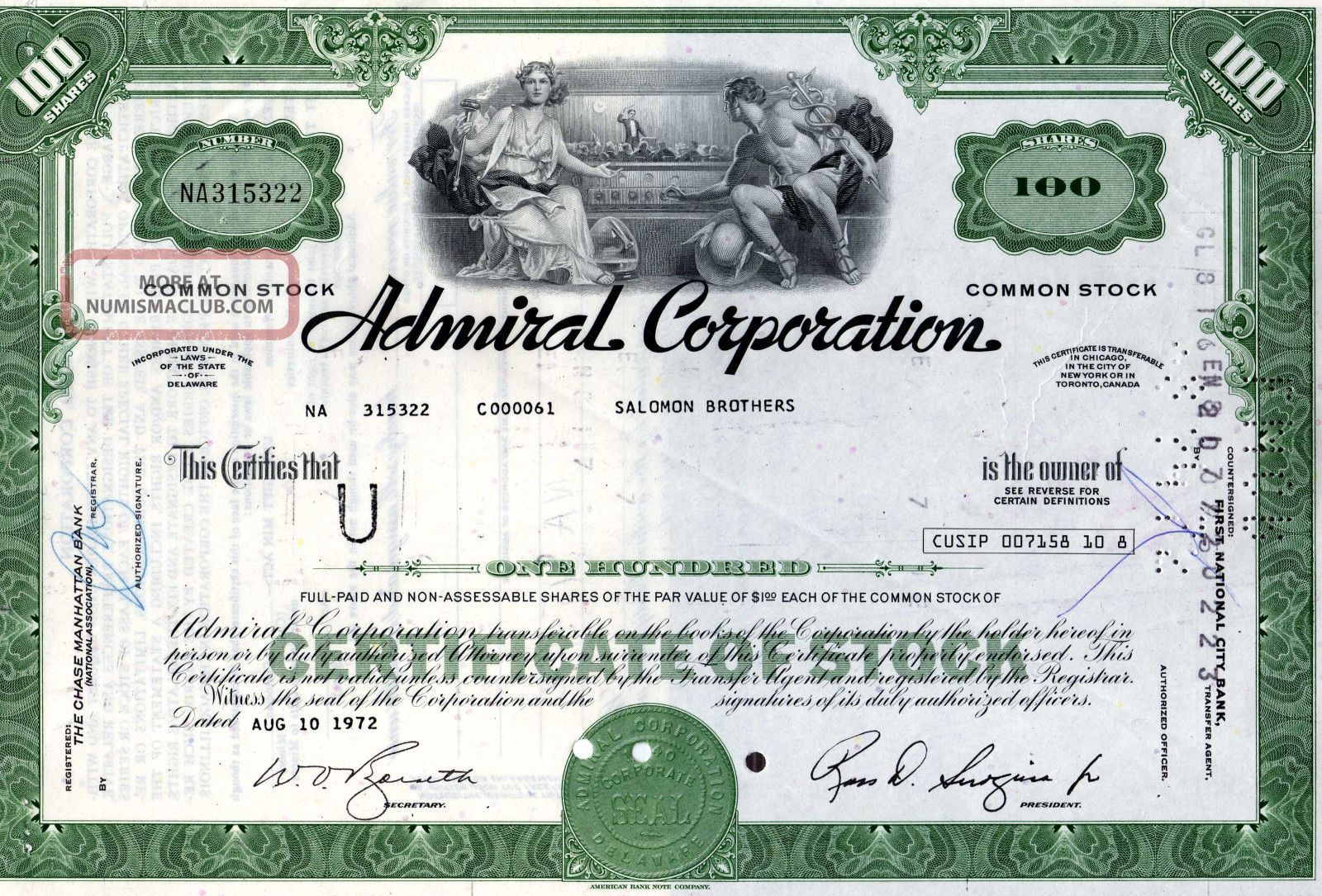 Admiral Corporation (electrical Appliances),  5 Shares,  1978 (now Whirlpool) Stocks & Bonds, Scripophily photo