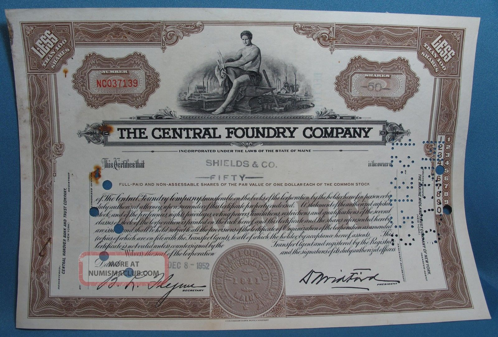 Vintage Central Foundry Company Maine 50 Shares Common Stock Certificate 1952 Stocks & Bonds, Scripophily photo
