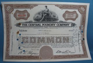 Vintage Central Foundry Company Maine 50 Shares Common Stock Certificate 1952 photo