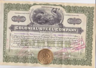Monaca Pa 1926 Colonial Steel Co.  Stock Certificate photo