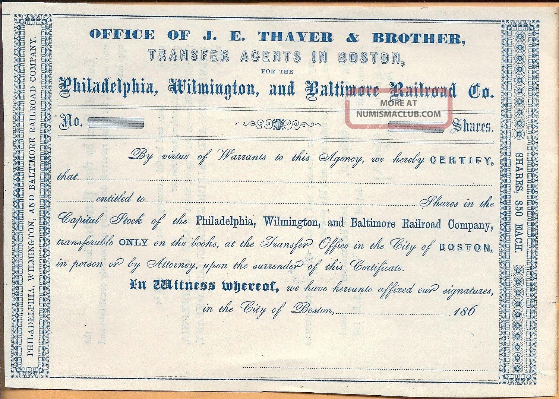 1860 ' S Philadelphia,  Wilmington & Baltimore R.  R.  Co.  Stock Transportation photo