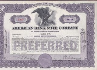 1952 American Bank Note Company Stock Certificate photo