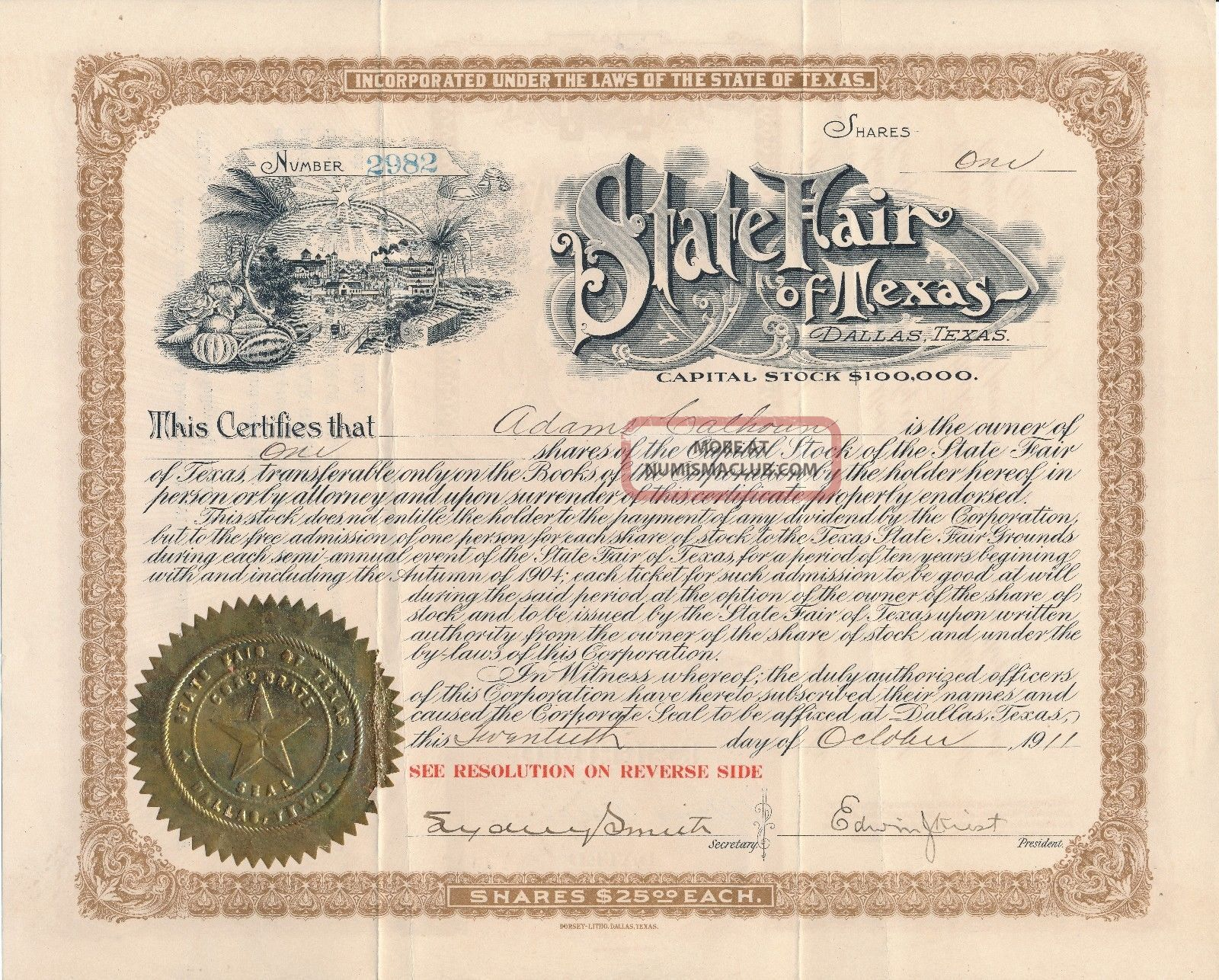 1911 State Fair Of Texas Dallas Stock Certificate / Rare Stocks & Bonds, Scripophily photo