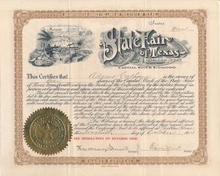 1911 State Fair Of Texas Dallas Stock Certificate / Rare photo