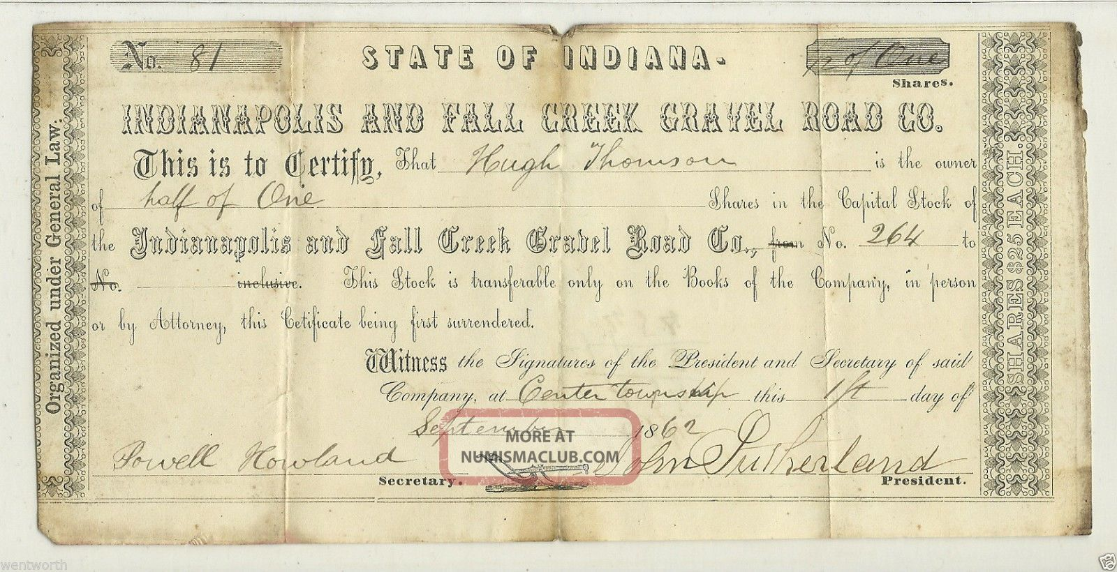 1862 Stock Certificate For Indianapolis & Fall Creek Gravel Road Co. Transportation photo
