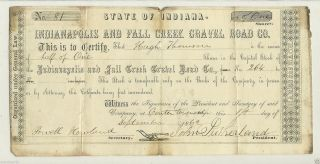 1862 Stock Certificate For Indianapolis & Fall Creek Gravel Road Co. photo