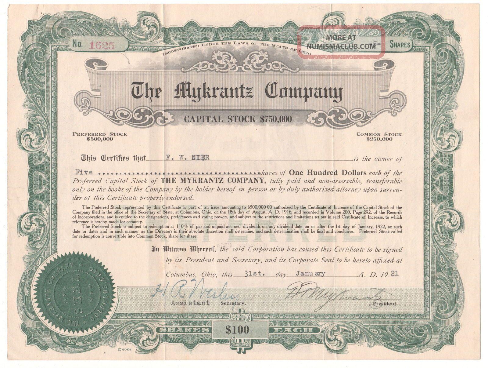 Vintage Mykrantz Company Stock Certificate 5 Shares 1921 Ohio ? Drug Store ? Stocks & Bonds, Scripophily photo