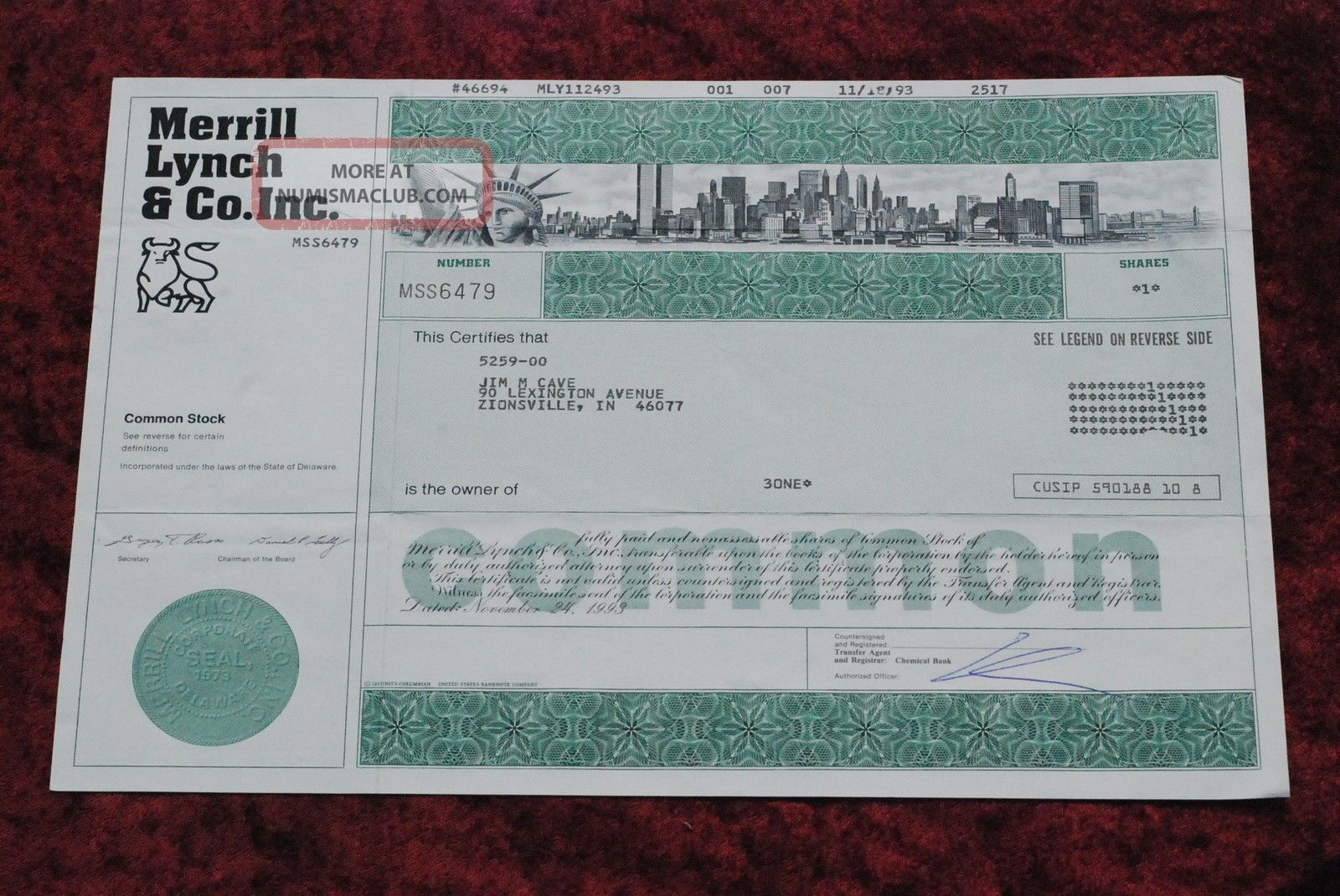 Merrilll Lynch & Co.  Inc.  Common Share Stock Certificate W/twin Towers Stocks & Bonds, Scripophily photo