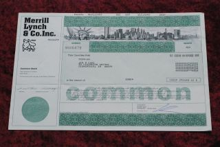Merrilll Lynch & Co.  Inc.  Common Share Stock Certificate W/twin Towers photo