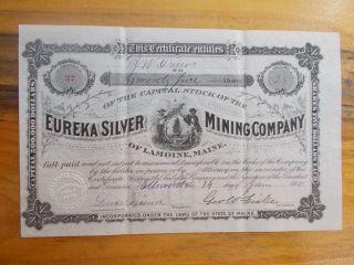 Eureka Silver Mining Company Of Lamoine,  Maine 1880 photo