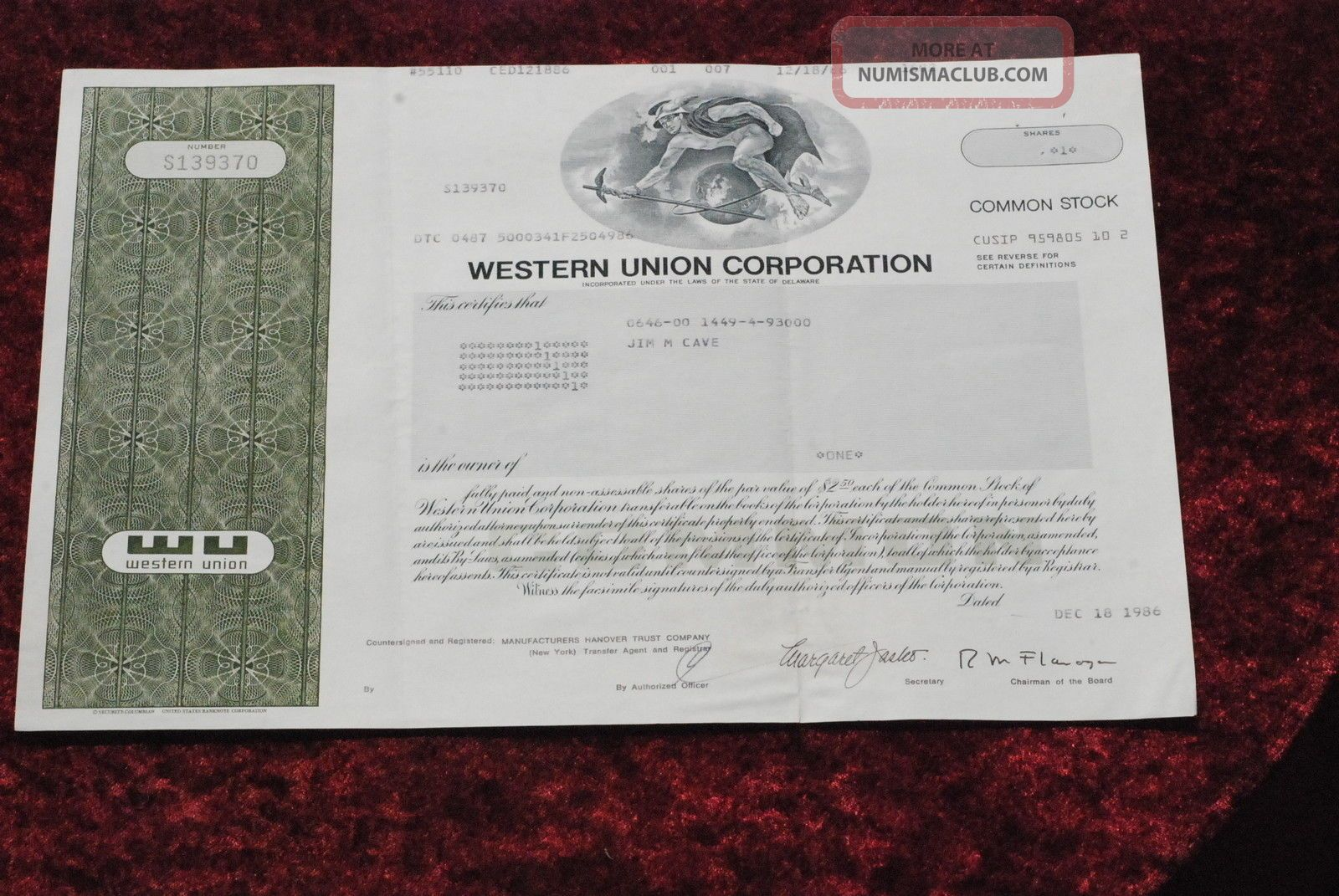 Western Union Corporation Common Share Stock Certificate 1986. Stocks & Bonds, Scripophily photo
