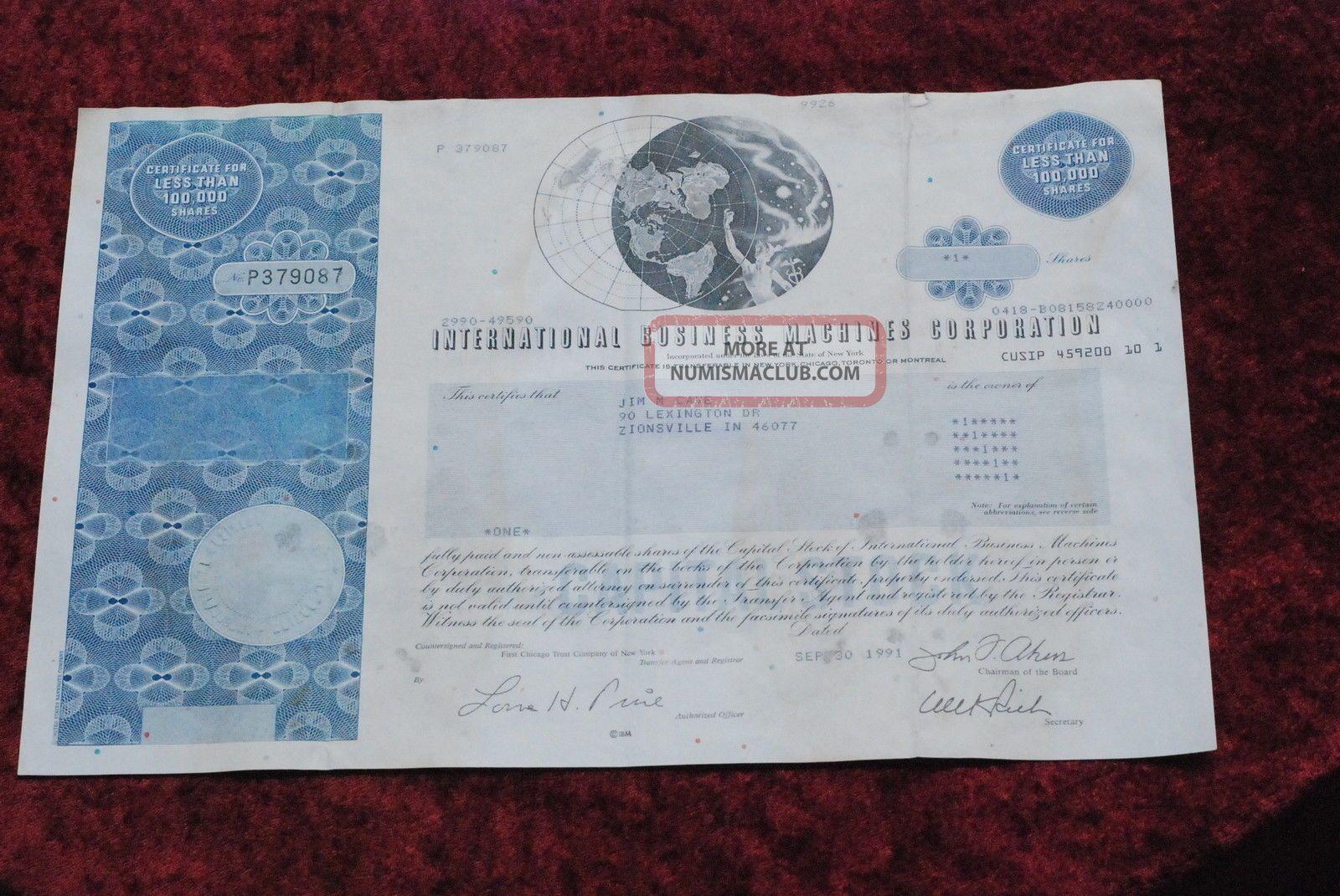 International Business Machines Common Share Stock Certificate Stocks & Bonds, Scripophily photo