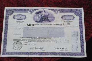 Mci Communications Co.  Common Share Stock Certificate 1985. photo