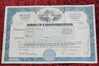 Amoco Corporation Common Share Stock Certificate 1991. photo