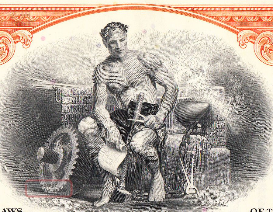 Granite City Steel - One Of Five Us Steel Facilities - Blacksmith At His Forge Stocks & Bonds, Scripophily photo