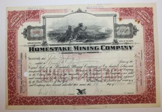 1908 Homestake Mining Company Stock Certificate Historic Gold Mine Early Red photo