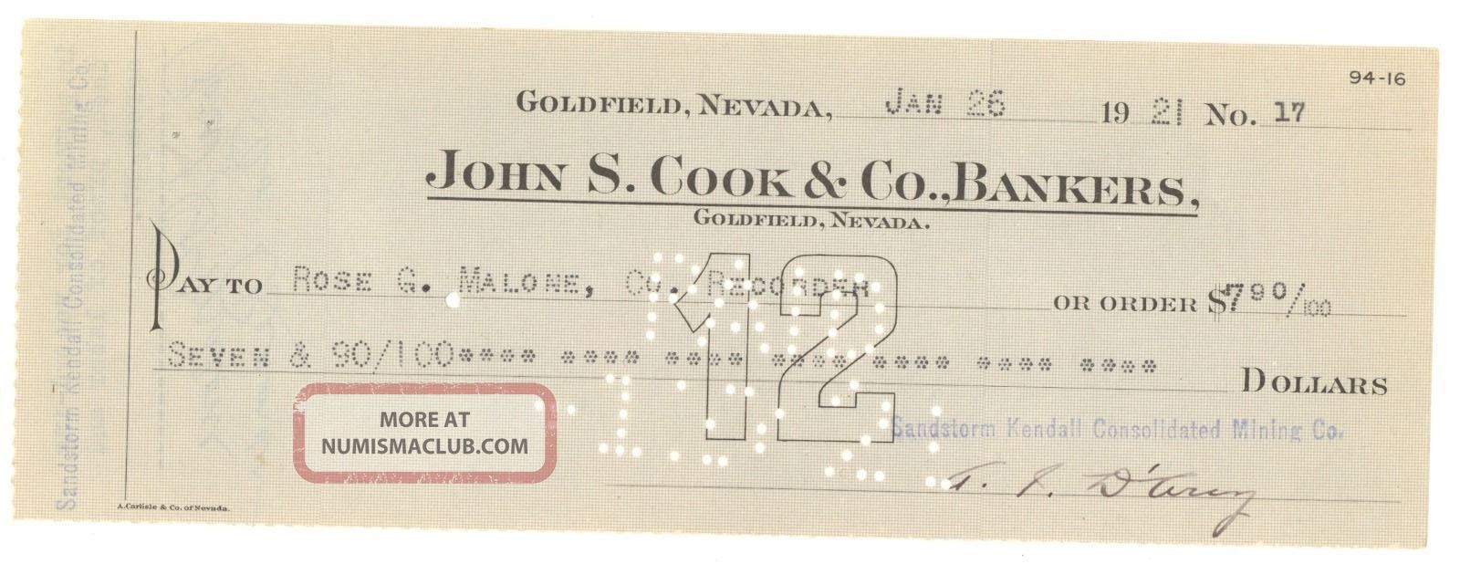1921 Sandstorm - Kendall Consolidated Mining Co.  - Check 17 - Goldfield,  Nv Stocks & Bonds, Scripophily photo