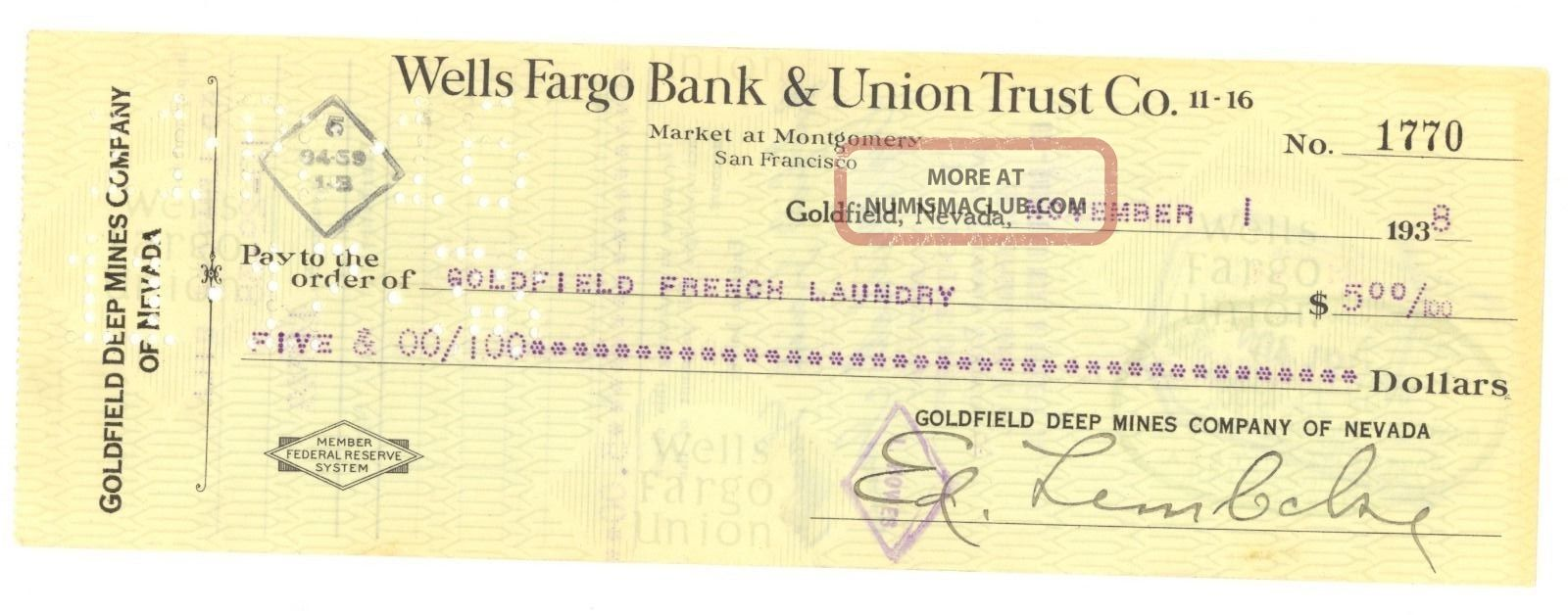 1938 Goldfield Deep Mines Co.  Of Nevada - Check 1770 - Goldfield,  Nevada Stocks & Bonds, Scripophily photo