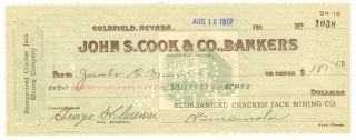 1917 Reorganized Cracker Jack Mining Co.  - Check 1038 - Goldfield,  Nevada photo