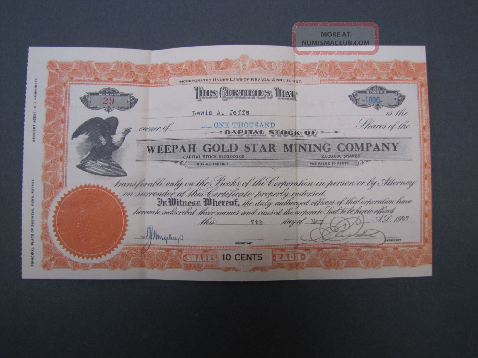Old Gold Mining Stock Certificate Weepah Gold Star Mining Company Stocks & Bonds, Scripophily photo