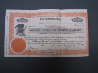 Old Gold Mining Stock Certificate Weepah Gold Star Mining Company photo