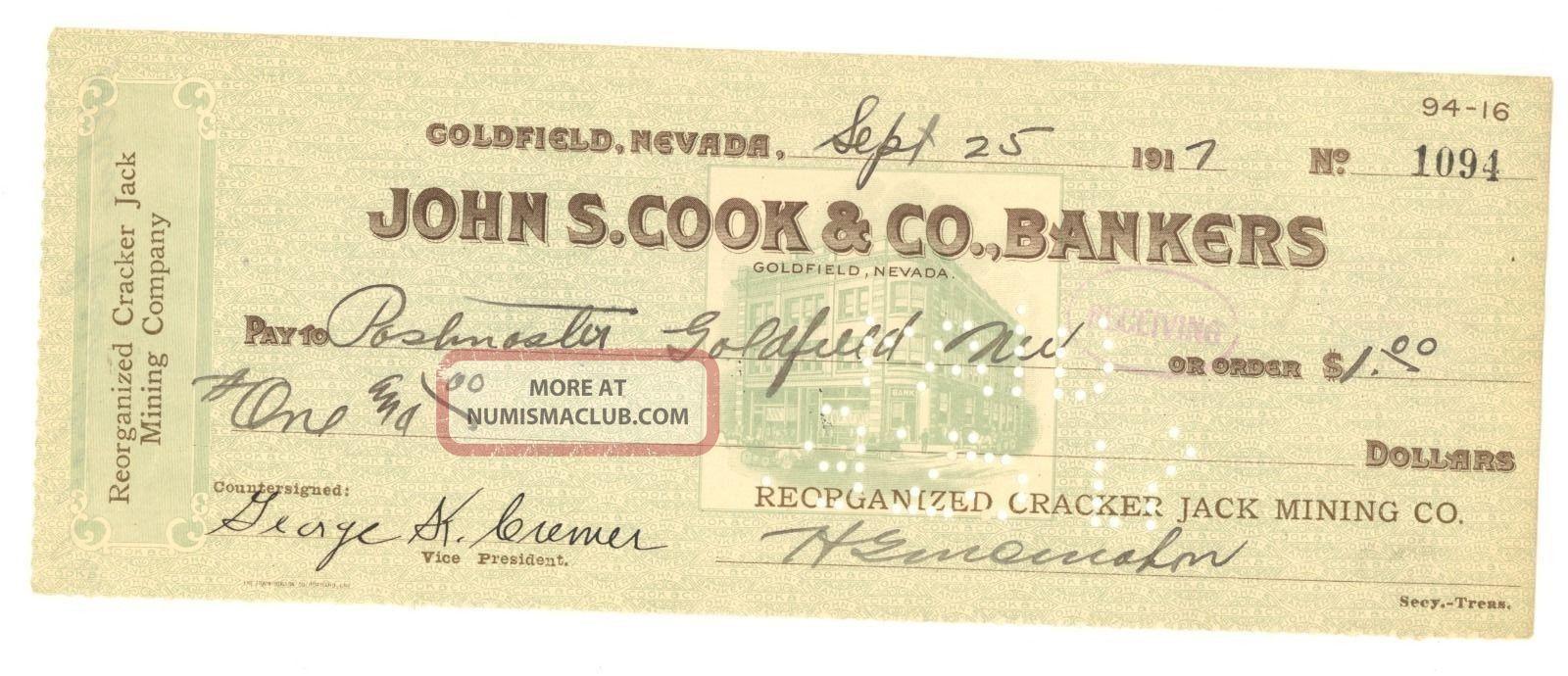 1917 Reorganized Cracker Jack Mining Co.  - Check 1094 - Goldfield,  Nevada Stocks & Bonds, Scripophily photo