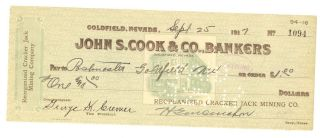 1917 Reorganized Cracker Jack Mining Co.  - Check 1094 - Goldfield,  Nevada photo