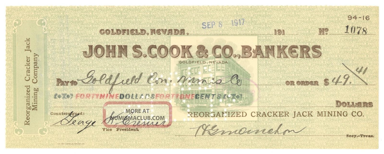 1917 Reorganized Cracker Jack Mining Co.  - Check 1078 - Goldfield,  Nevada Stocks & Bonds, Scripophily photo