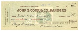 1917 Reorganized Cracker Jack Mining Co.  - Check 1078 - Goldfield,  Nevada photo