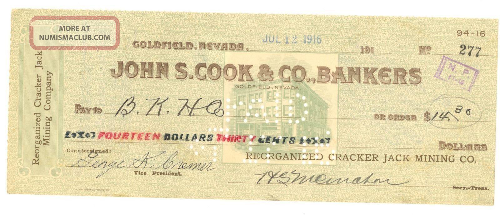 1916 Reorganized Cracker Jack Mining Co.  - Check 277 - Goldfield,  Nevada Stocks & Bonds, Scripophily photo