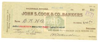 1916 Reorganized Cracker Jack Mining Co.  - Check 277 - Goldfield,  Nevada photo