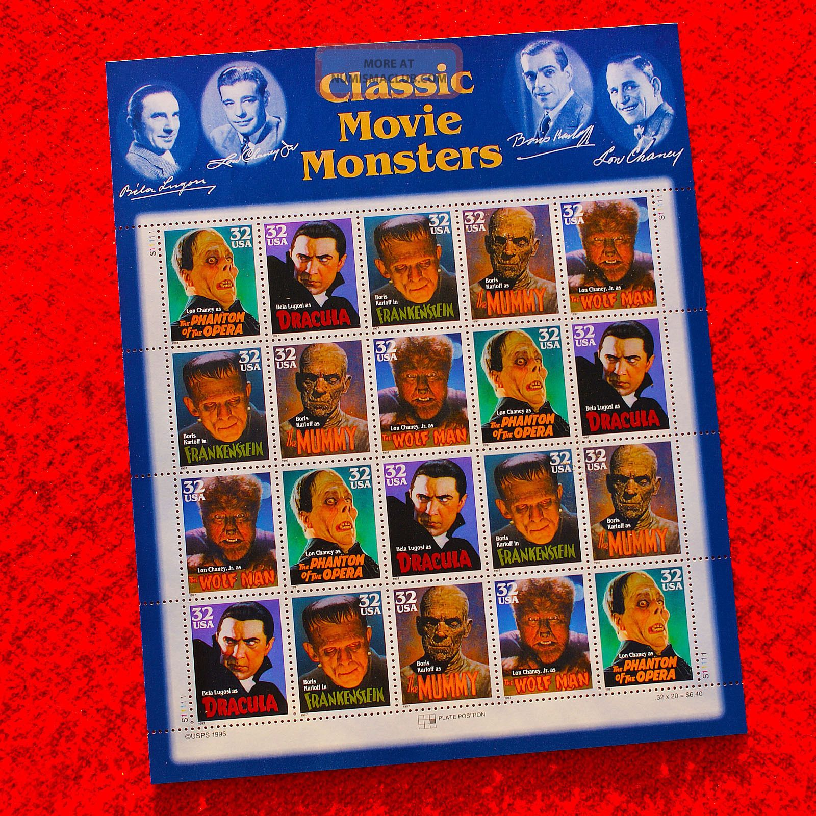 Movie Monsters Classic U.  S.  Postage Stamp Folio Outstanding Design Stocks & Bonds, Scripophily photo