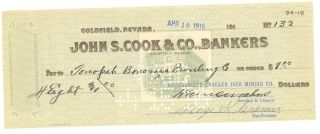 1916 Reorganized Cracker Jack Mining Co.  - Check 132 - Goldfield,  Nevada photo