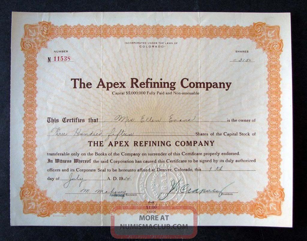 1924 Apex Refining Company (colorado) Stock Certificate Stocks & Bonds, Scripophily photo