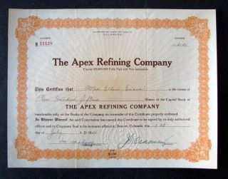1924 Apex Refining Company (colorado) Stock Certificate photo