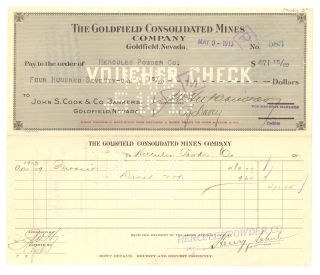 The Goldfield Consolidated Mines Company - Voucher Check - May 9th,  1913 - (2) photo