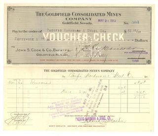 The Goldfield Consolidated Mines Company - Voucher Check - May 9th,  1913 photo