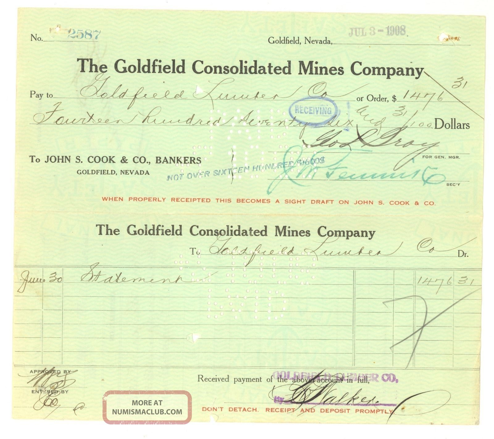 The Goldfield Consolidated Mines Company - Voucher Check - Jul 3rd,  1908 Stocks & Bonds, Scripophily photo