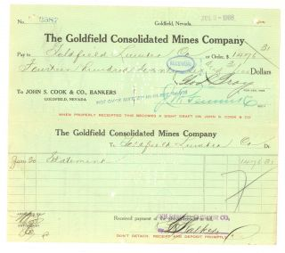 The Goldfield Consolidated Mines Company - Voucher Check - Jul 3rd,  1908 photo