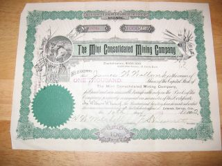 The Consolidated Mining Company Stock Certificate photo