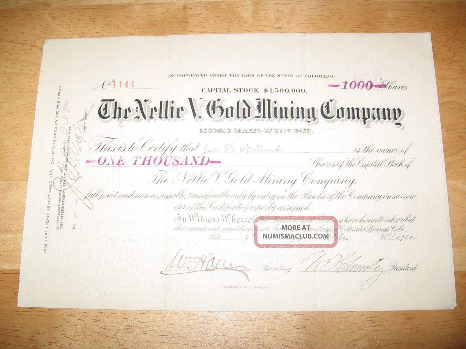 1900 The Nellie V.  Gold Mining Company Stock Certificate Stocks & Bonds, Scripophily photo