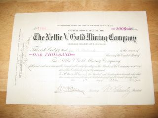 1900 The Nellie V.  Gold Mining Company Stock Certificate photo