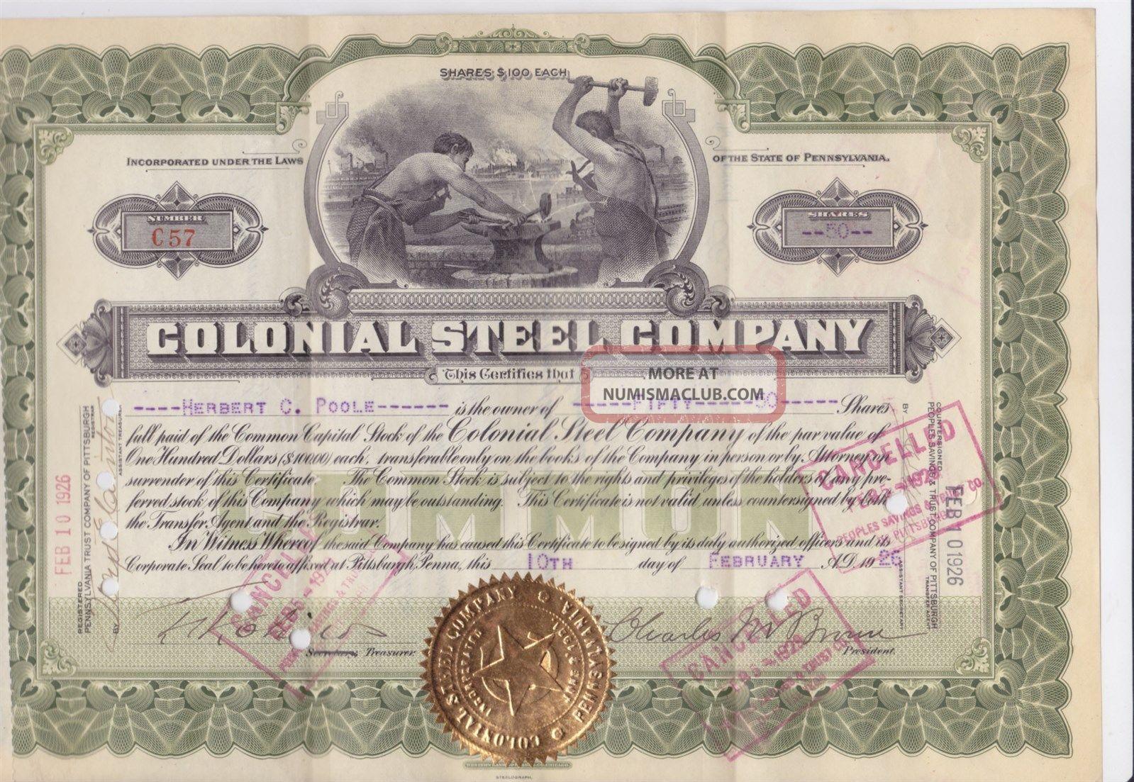 Monaca Pa 1926 Colonial Steel Co.  Stock Certificate Stocks & Bonds, Scripophily photo
