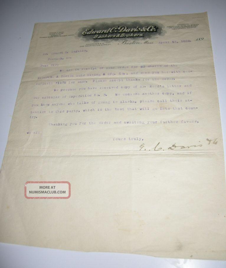 1898 Boston Bankers & Brokers Letter On Klondike Gold Expedition,  Mining Stock Stocks & Bonds, Scripophily photo
